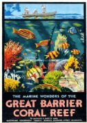 Great Barrier Coral Reef, Australia. Vintage Travel Poster by Percy Trompf. 1933
